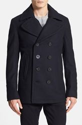 Burberry 'Eckford' Wool And Cashmere Peacoat Navy