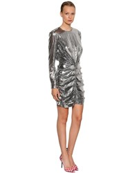 Msgm P.M. Sequined Mini Dress Silver