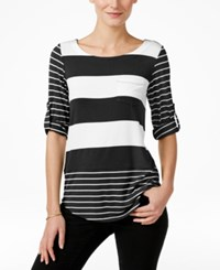 Cable And Gauge Striped Tab Sleeve Top Black White