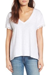 Press Women's Lace Trim High Low Tee White Wash