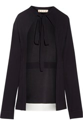 Marni Tie Front Crepe Top Midnight Blue