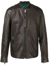 Hugo Boss Zipped Biker Jacket Brown