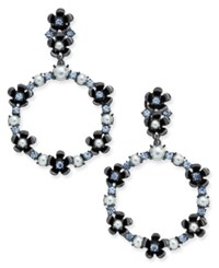 Kate Spade New York Hematite Tone Imitation Pearl And Flower Gypsy Hoop Earrings Blue Multi