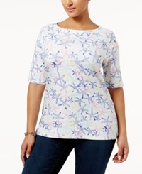 Charter Club Plus Size Cotton Boat Neck T Shirt Only At Macy's Bright White Combo
