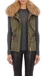 Sam Women's Fur Trimmed Vest Green