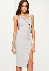 Missguided Grey Bandage Strappy Frill Detail Midi Dress