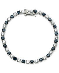 Carolee Silver Tone Stone And Crystal Link Bracelet Blue