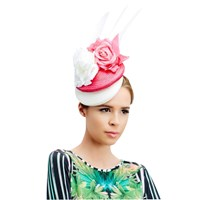 Rebecca Couture Orla Double Pillbox Quills Fascinator Hot Pink White
