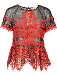 Jonathan Simkhai Ruffled Sheer Blouse Red