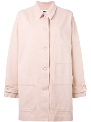 Maison Martin Margiela Mm6 Multi Pockets Oversized Coat Women Cotton 42 Pink Purple