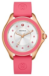 Michele 'Cape' Topaz Dial Silicone Strap Watch 40Mm