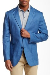 Tailorbyrd Solid Two Button Notch Lapel Linen Sports Jacket Blue