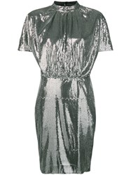 Msgm Micro Pleated Sequin Dress Silver