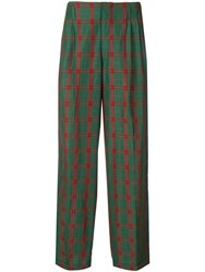 Jean Paul Gaultier Vintage 1990'S Checked Straight Trousers Green