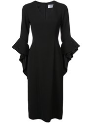 Prabal Gurung Ruffle Cuff V Neck Dress Black