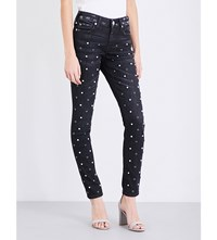 True Religion Halle Studded Super Skinny Mid Rise Jeans Black Moon Stone
