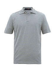 The Gigi Striped Cotton Jersey Polo Shirt Blue White