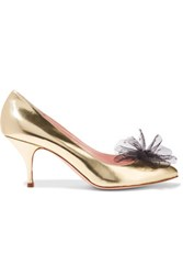Red Valentino Redvalentino Point D'espirit Trimmed Metallic Leather Pumps Gold