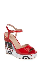 Kate Spade Women's New York Dora Wedge Sandal Maraschino Red Patent