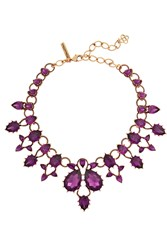 Oscar De La Renta Gold Plated Crystal Necklace Purple
