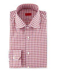 Isaia Box Check Dress Shirt Red Navy