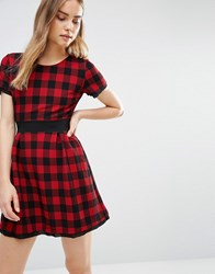 Wal G Skater Dress In Check Red
