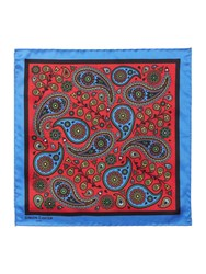 Simon Carter Paisley And Skulls Pocket Square Red