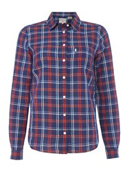 Levi's Long Sleeve Shirt Plaid Navy