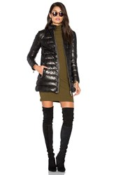 Doma Down Filled Quilted Leather Coat Black