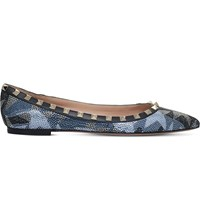 Valentino Rockstud Camustars Crystal Embellished Leather Ballet Flats Denim