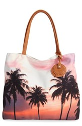Dirty Ballerina Palm Tree Print Canvas Tote