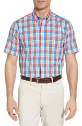 Cutter And Buck 'S Martin Classic Fit Non Iron Plaid Sport Shirt Tangelo