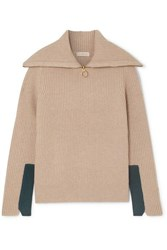 Tory Burch Two Tone Ribbed Wool Blend Sweater Beige