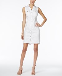 Inc International Concepts Crochet Back Denim Shirtdress Only At Macy's White Denim