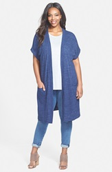 Sejour 'Valencia' Short Sleeve Long Open Front Cardigan Plus Size Navy Medieval