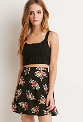 Forever 21 Rose Print Skater Skirt Black Red