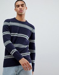 Tom Tailor Knitted Jumper In Boucle Wool Mix With Stripe Navy