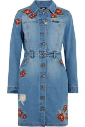 House Of Holland Lee Embroidered Denim Mini Dress Light Denim