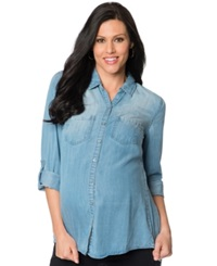Wendy Bellissimo Maternity Tab Sleeve Chambray Shirt Blue