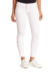Hudson Suki Lace Up Skinny Ankle Jeans White