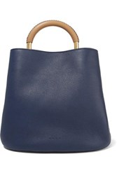 Marni Pannier Large Textured Leather Tote Navy