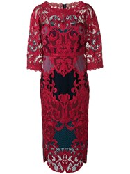 Marchesa Notte Lace Panel Fitted Dress Red