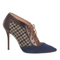 J.Crew Collection Lace Up Houndstooth Pumps Deep Maple
