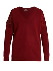 Chloe Lace Insert Wool And Cashmere Blend Sweater Burgundy