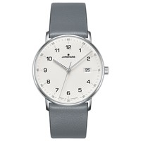 Junghans 041 4885.00 Unisex Form Date Leather Strap Watch Grey White