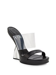 Alexander Mcqueen Translucent And Leather Lucite Heel Sandals Black