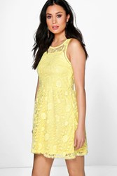 Boohoo Lace Skater Dress Yellow