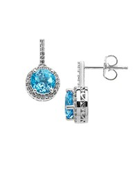 Lord And Taylor Sterling Silver Blue White Topaz Earrings Blue Topaz Silver