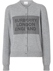 Burberry Logo Detail Cashmere Cardigan Grey