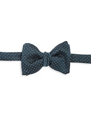 Saks Fifth Avenue Dotted Silk Bow Tie Dark Green